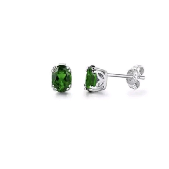 Chrome Diopside Sterling Silver Oval Stud Earrings